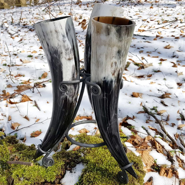 Set of 3 Drinking Horns & Stand