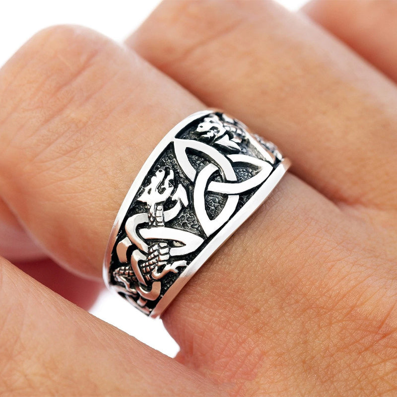 Triquetra and Serpents Ring - Sterling Silver