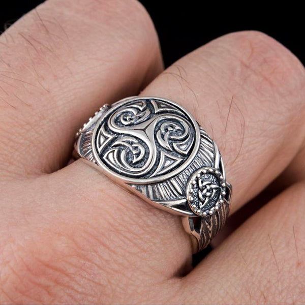 Triskele and Triquetra Ring - Sterling Silver or Gold