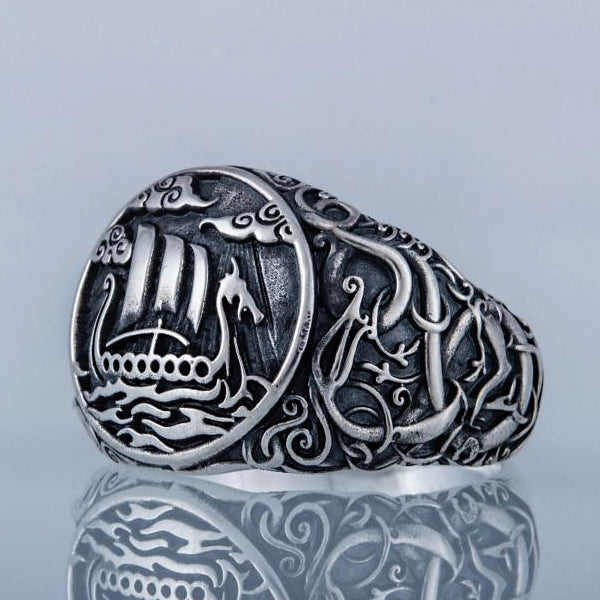Drakkar and Serpent Ring - Sterling Silver or Gold