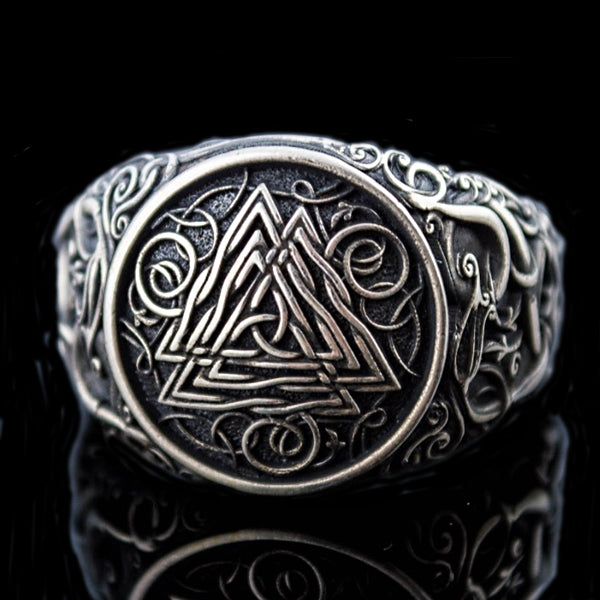 Valknut and Serpent Ring - Sterling Silver or Gold