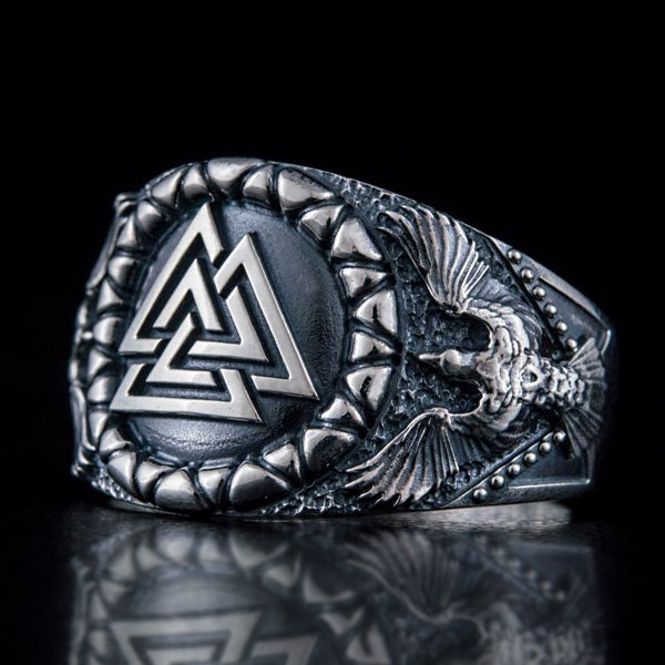 Valknut and Ravens Ring - Sterling Silver or Gold