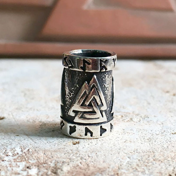 Valknut and Runes Beard Bead