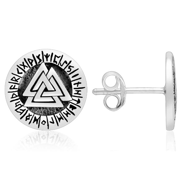 Valknut and Runes Earrings - Sterling Silver