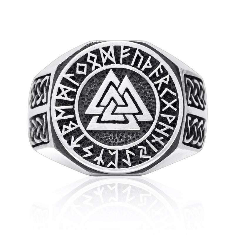 Valknut and Runes Ring - Sterling Silver