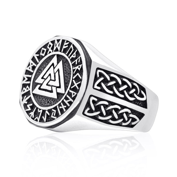 valknut and runes ring