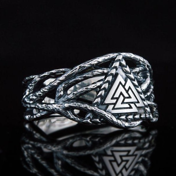 Valknut and Vines Ring - Sterling Silver or Gold