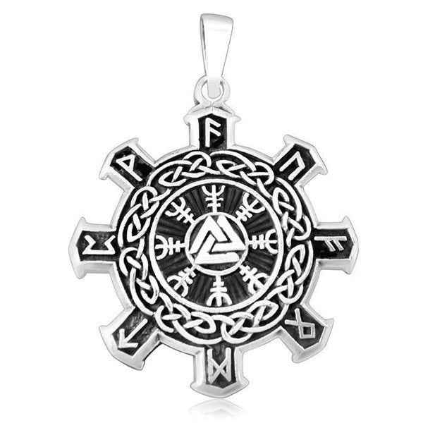 Valknut, Helm and Runes - Sterling Silver