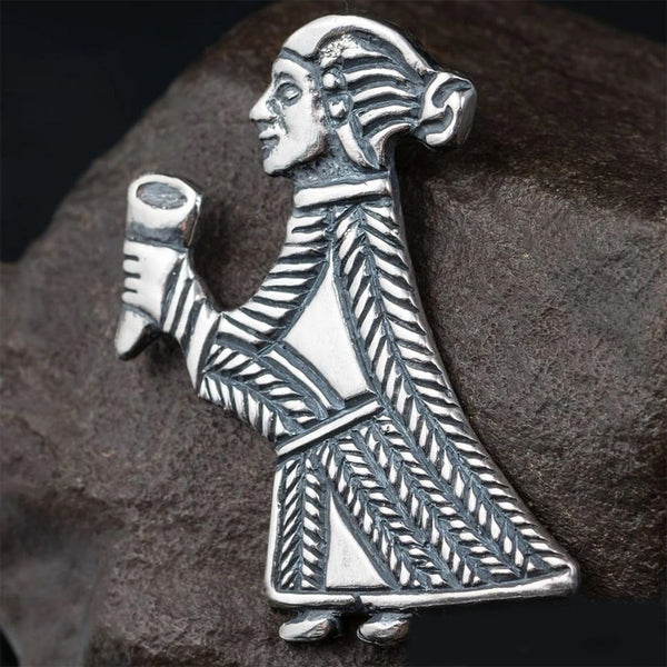 Sterling Silver Valkyrie with Horn Pendant