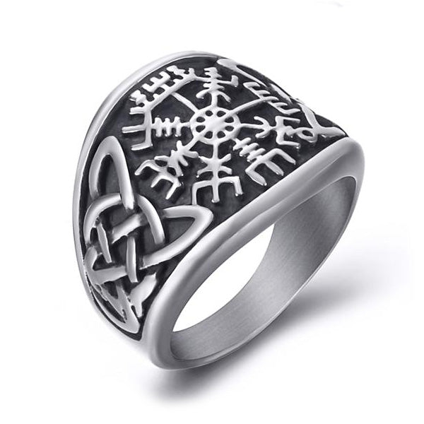 Vegvisir and Knotwork Ring - Stainless Steel