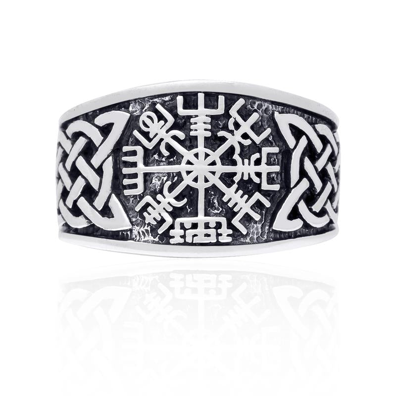 Vegvisir and Knotwork Ring - Sterling Silver
