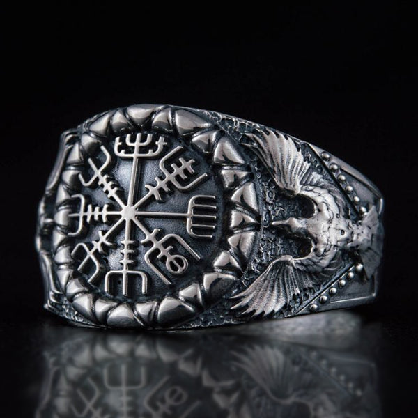 Vegvisir and Ravens Ring - Sterling Silver or Gold
