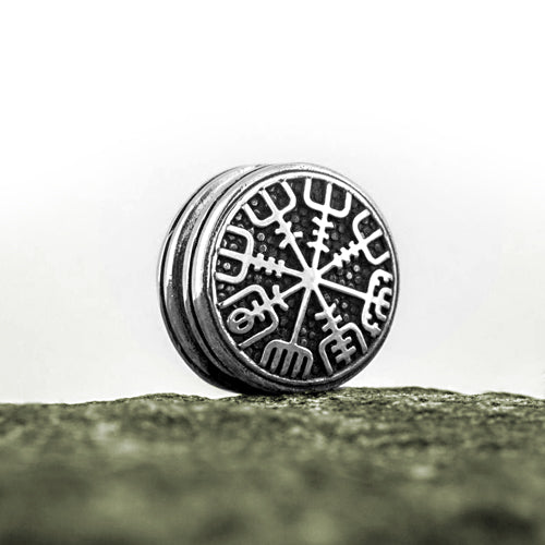 Vegvisir Round Bead - Bronze or Sterling Silver