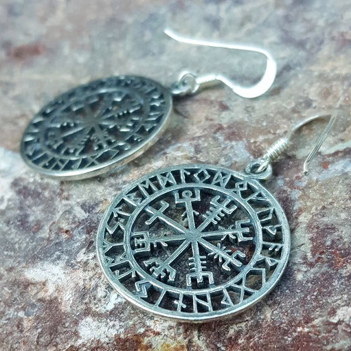Vegvisir and Runes Earrings - Sterling Silver