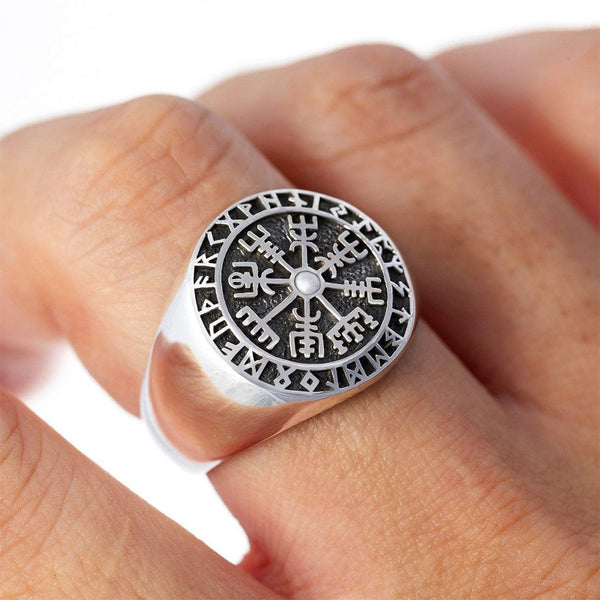Viking Compass and Runes Ring - Sterling Silver
