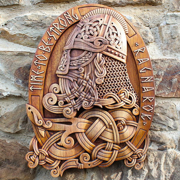 Carved Wood Viking with Helmet Wall Hanging