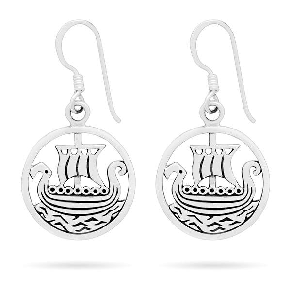 Viking Longship Earrings - Sterling Silver