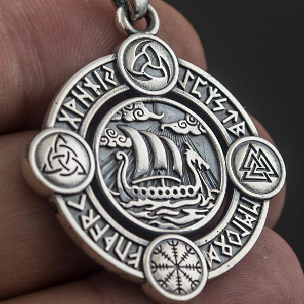 Viking Ship Amulet - Sterling Silver or Gold