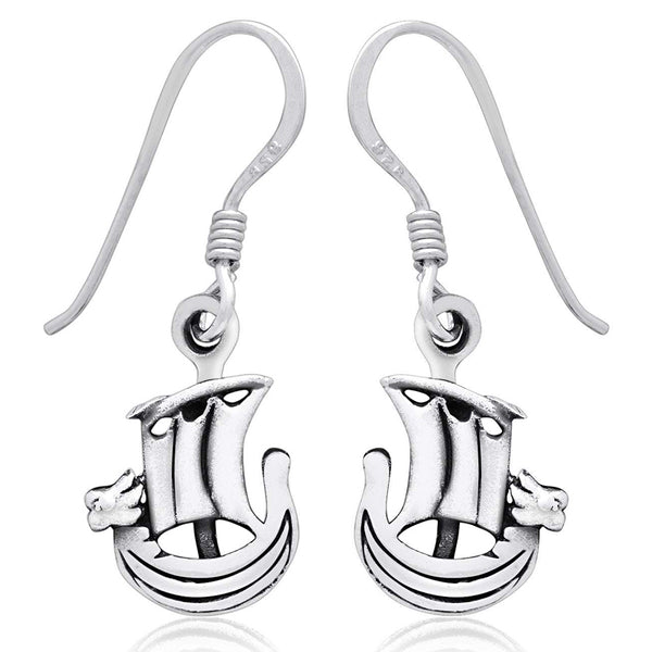 Viking Ship Earrings - Sterling Silver