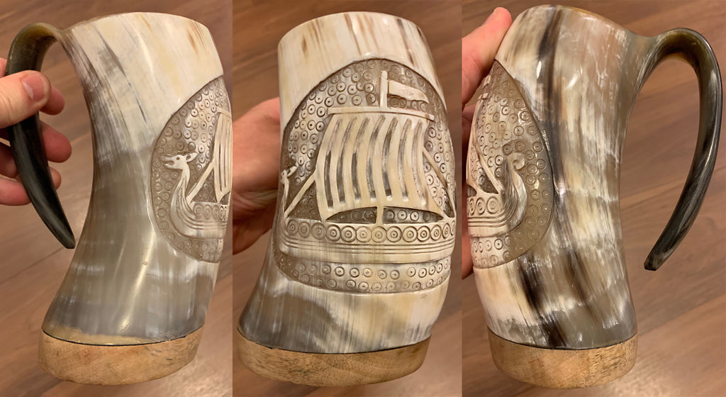Hand Carved Viking Ship Mug