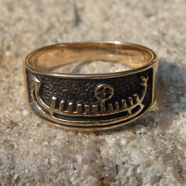 viking ship ring bronze - Norse Wedding Rings