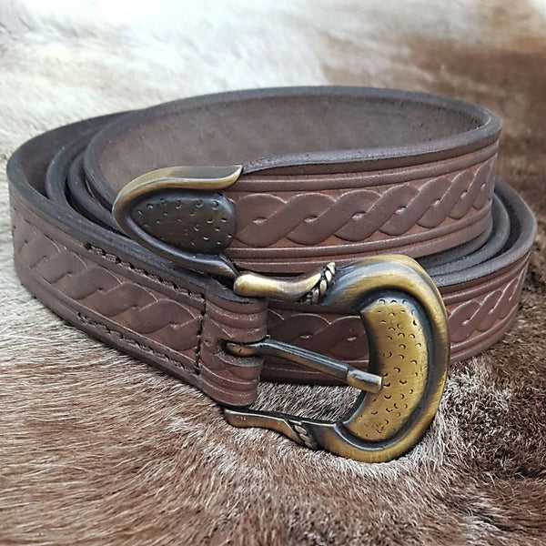 Viking Twist Pattern Belt - Leather