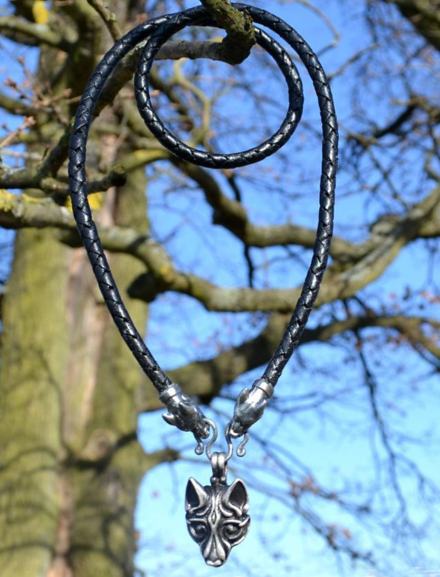 Viking Wolf - Leather Chain w/ Wolf Heads - Pewter