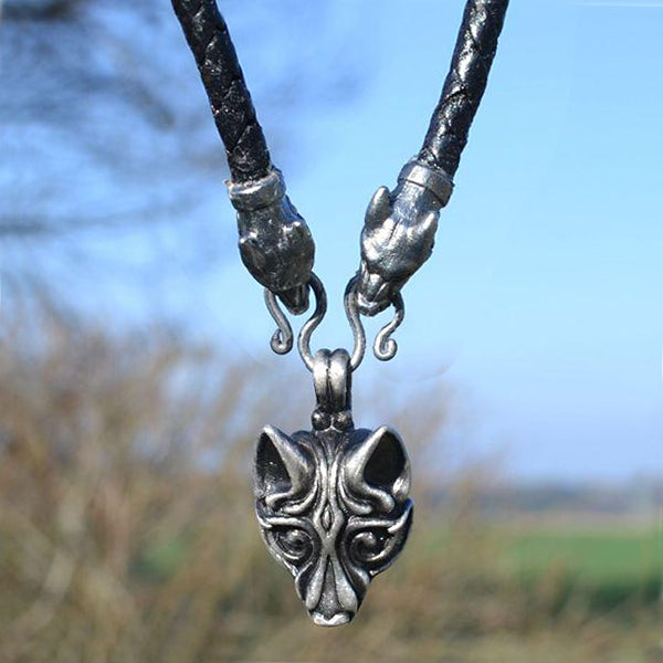Viking Wolf Necklace - Leather Chain