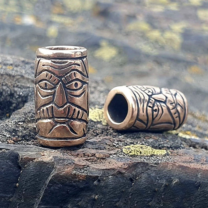 Warrior Face Beard Bead - Bronze