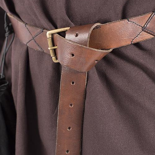 Wide Brown Viking Belt - Leather