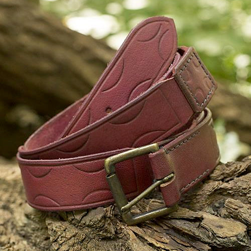 Wide Red Viking Belt - Leather