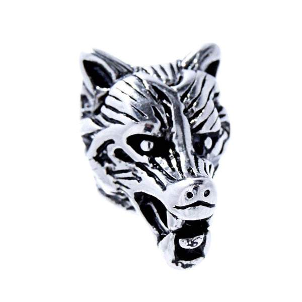 Wolf Head Beard Bead - Sterling Silver