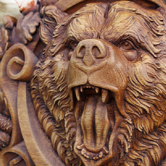 Carved Wood Berserker Bear