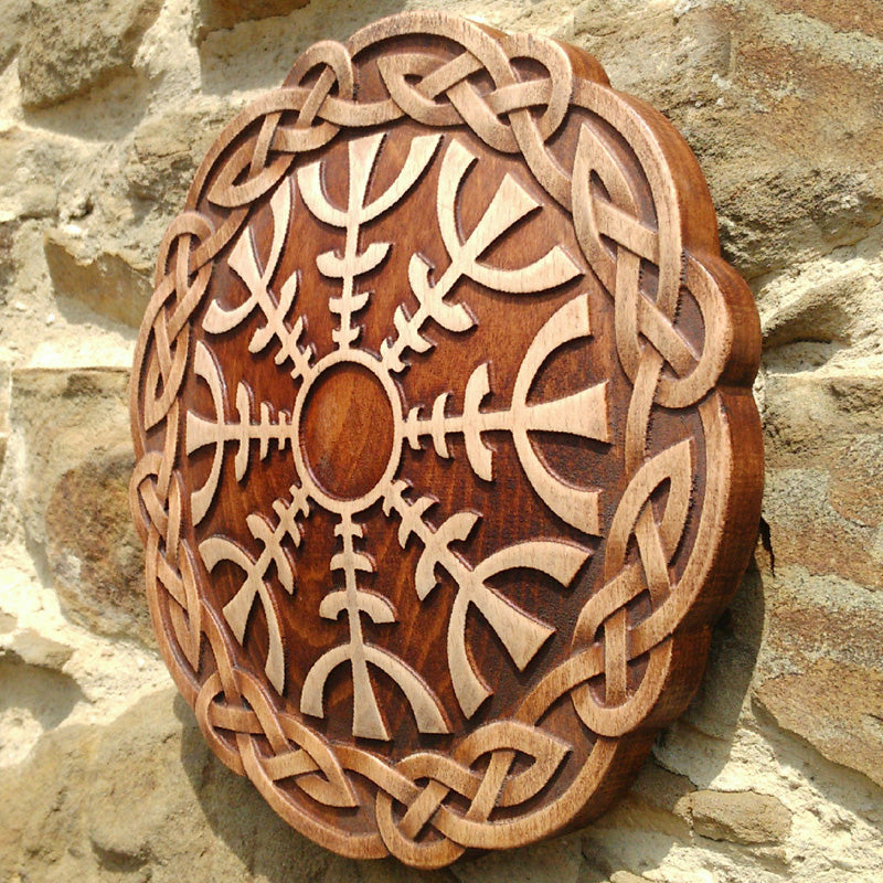 Carved Wood Helm of Awe Wall Hanging