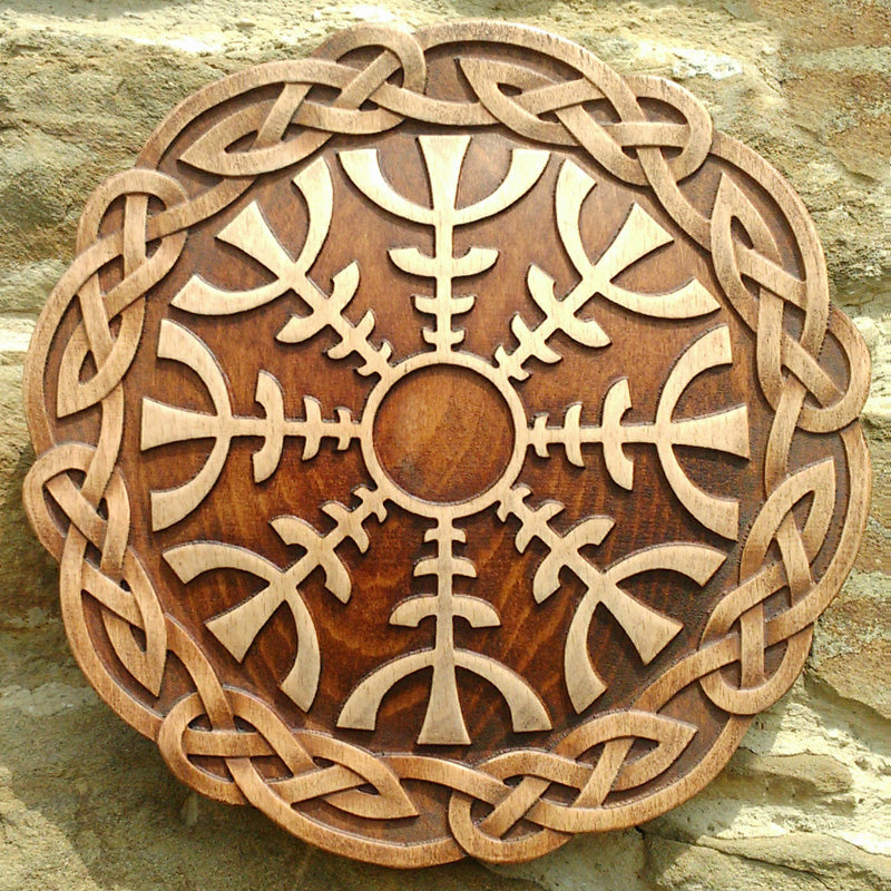 Hand Carved Helm of Awe Wall Hanging