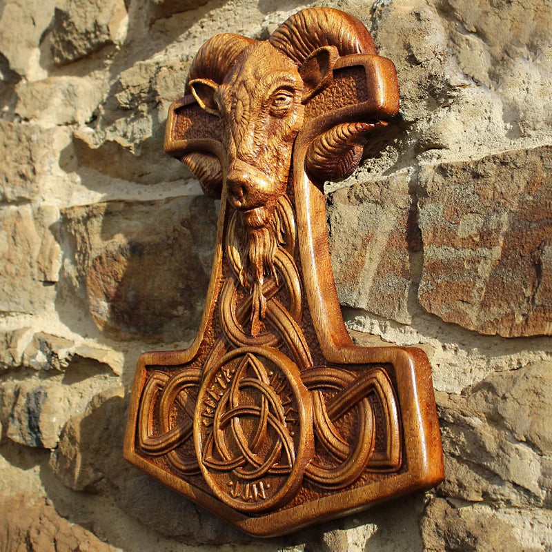 Hand Carved Mjolnir Wall Hanging