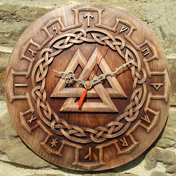 Carved Wood Viking Clock