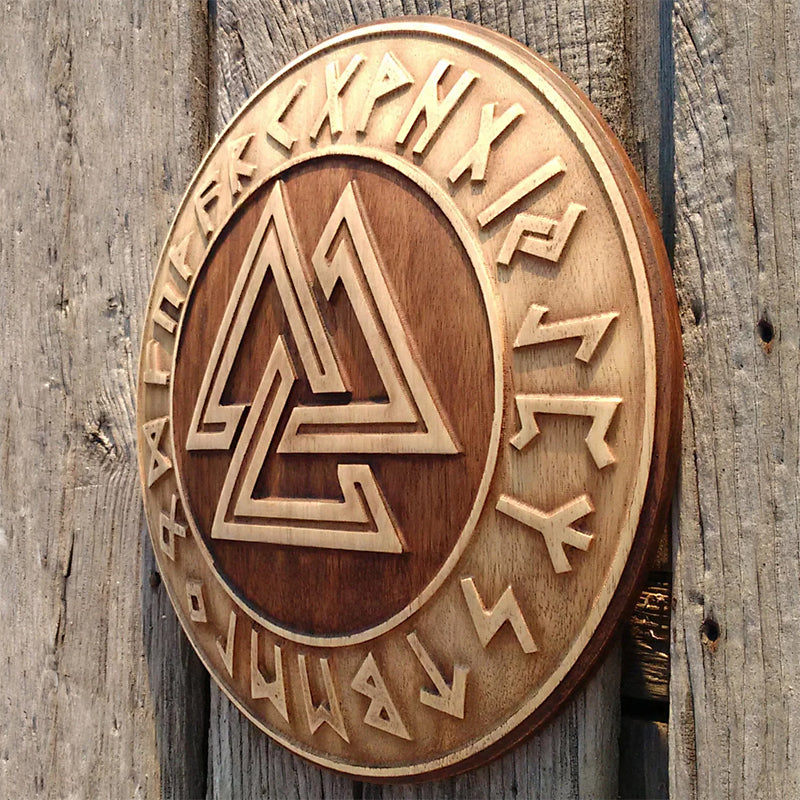 Hand Carved Valknut Wall Hanging