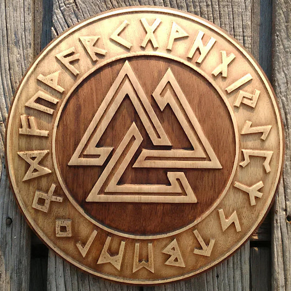 Carved Wood Valknut Wall Hanging