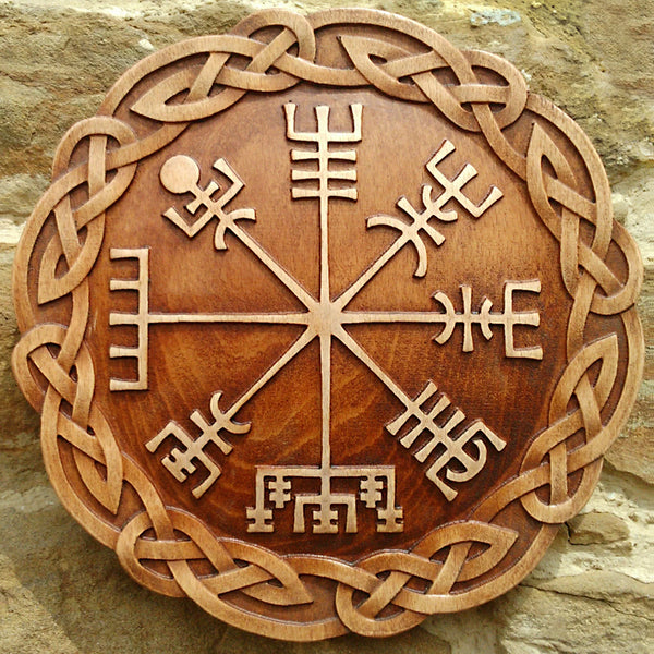 Hand Carved Vegvisir Wall Hanging