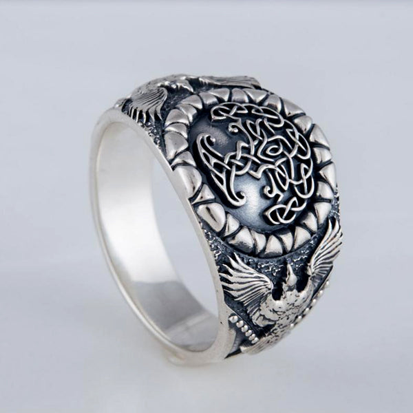 Yggdrasil and Ravens Ring - Sterling Silver or Gold