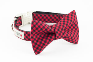 Red and black gingham buffalo plaid dog bowtie collar.