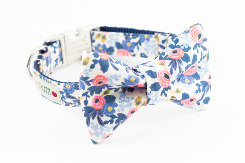 Blue periwinkle and pink floral, rifle paper co. print dog bowtie collar.