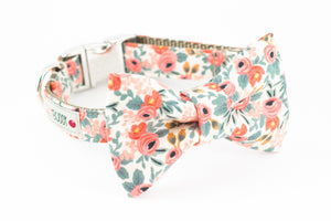 Peach and pink floral, rifle paper co. print dog bowtie collar.