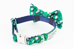 Green, white and navy blue floral organic cotton dog bowtie collar.