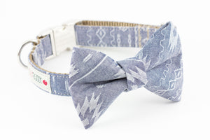 Blue navajo print chambray dog bowtie collar.