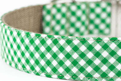 Green Gingham Dog Collar