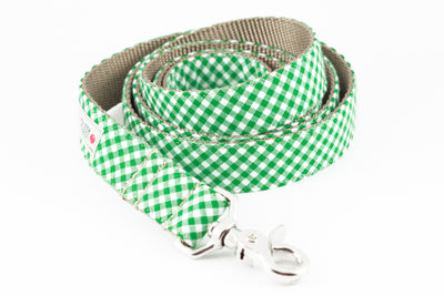 Green Gingham Dog Leash