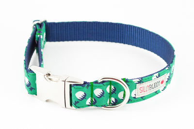 Organic Green Floral Dog Collar