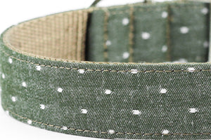 Chambray Olive Dog Collar